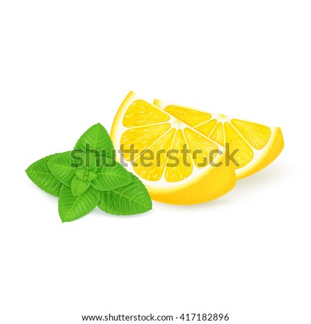 slices of lemon with mint