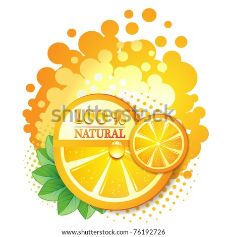 Slices orange with leaf isolated on white background