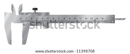 Slide gauge. (Sliding / vernier call). Vector illustration. Isolated on white.