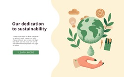 Slide or landing page layout with illustration of the concept of sustainability or environmental protection