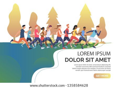 Slide page with multiethnic runners in woods vector illustration. Jogging, competition, race. Sport concept. Design for website templates, posters, presentations