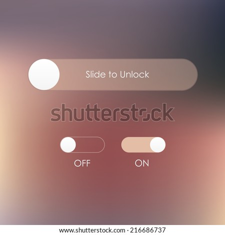 slide to unlock button and on off buttons isolated on soft blurred background- mobile application user interface design