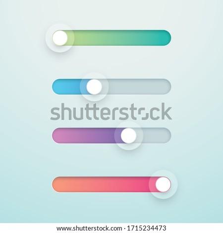 Slider Bar Infographic Colorful Vector Elements Set Сток-фото ©