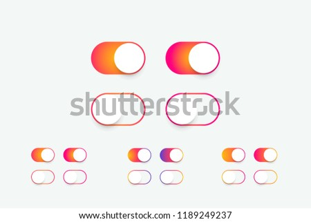 Slider buttons for apps. Realistic switch toggle buttons, set. Sliders in ON OFF position gradient color. Vector illustration. EPS 10
