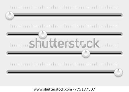 Slider control panel. White settings bars. Vector 3d illustration