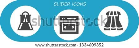 slider icon set. 3 filled slider icons.  Collection Of - Slider, Sliders