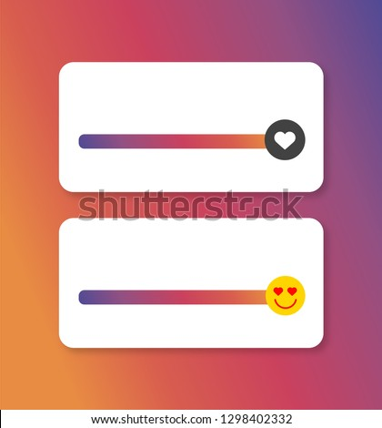 Slider smile social media Instagram. Vector illustration. Slider heart instagram.