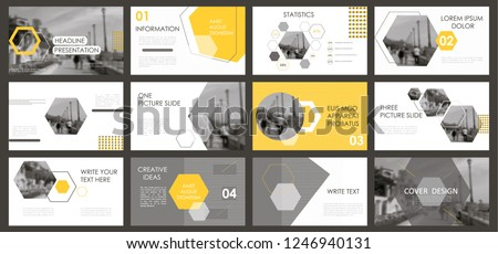 Slides. Modern presentation template. Abstract infographic elements. Title sheet. Brochure cover design. Illustration with image. Light. Gray. Simple. Corporate info banner frame. Business.Yellow.