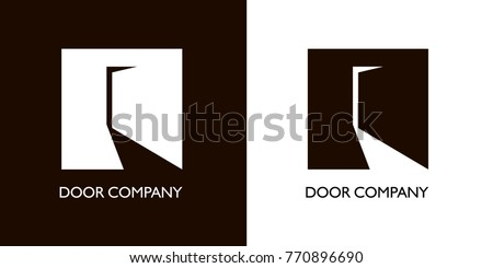 slightly open door in form of crane. Black white versions