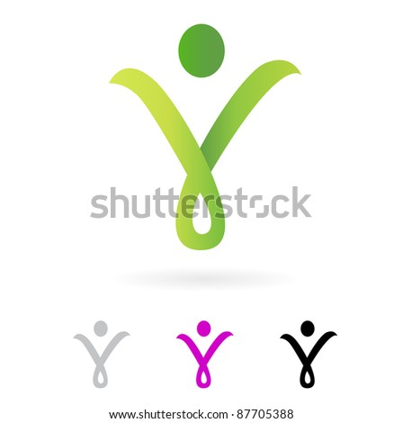 Slim abstract human silhouette sign isolated on white ( green )
