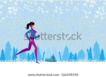 slim girl running in winter