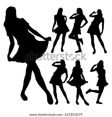 slim girls in skirts posing in