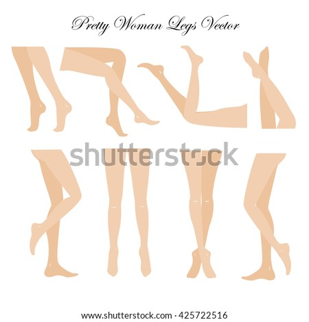 Slim, long, and elegant woman legs in different poses.. Lying, standing, and sitting legs positions. Straight and crossed legs. Legs design elements. Woman legs silhouettes.