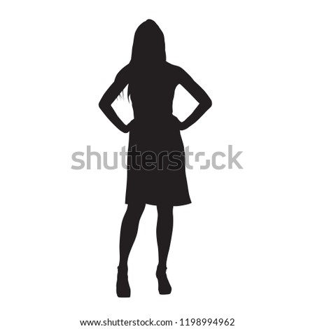eaca9a6fef0c0 Slim sexy woman with long legs dressed in summer dresses and high heels  standing with hands