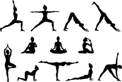Slim sportive young woman doing yoga & fitness exercises. Healthy lifestyle. Set of vector silhouette illustrations design isolated on white background for t-shirt graphics, icons, web, posters, print