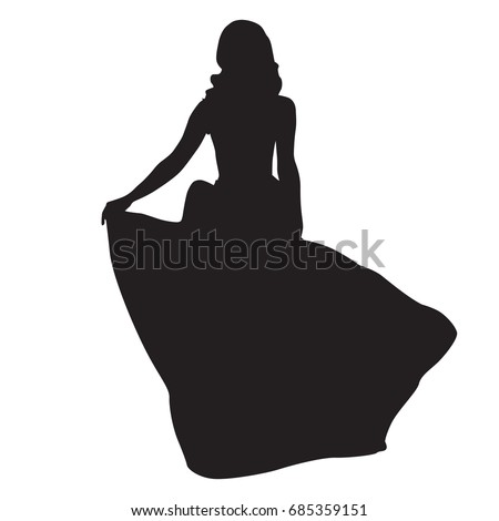 slim woman in long night dress