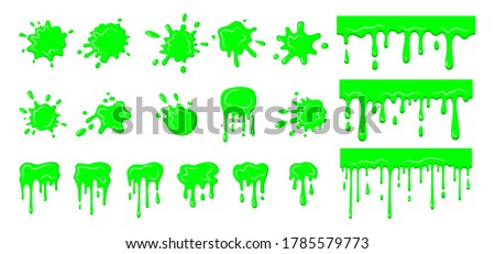Slime drip blob, splatters set. Collection green dirt splat, goo dripping splodges of slime splatter. Halloween shapes liquids. Bright green stain cartoon flat mucus. Isolated vector illustration
