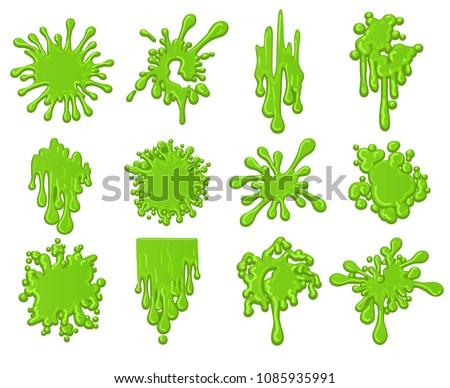 Slime splats. Dirt dripping green slime splodge set vector illustration