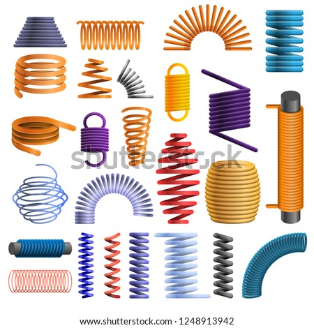 Slinky coil icon set. Cartoon set of slinky coil vector icon for web design
