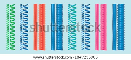 Slinky coil. modern cartoon icon design template with various models vector illustration isolated on blue background Stockfoto ©