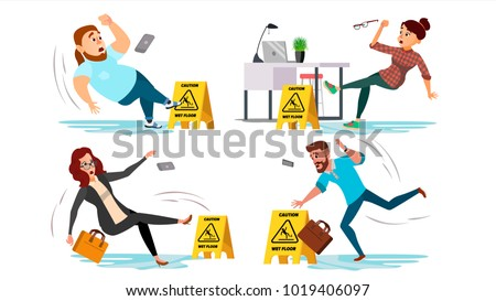 Slip Wet Floor. Caution Wet Floor Sign Vector. People Slip And Fall On Water Floor. Situation In Office. Danger Sign. Clean Service. Isolated Flat Cartoon Character Illustration