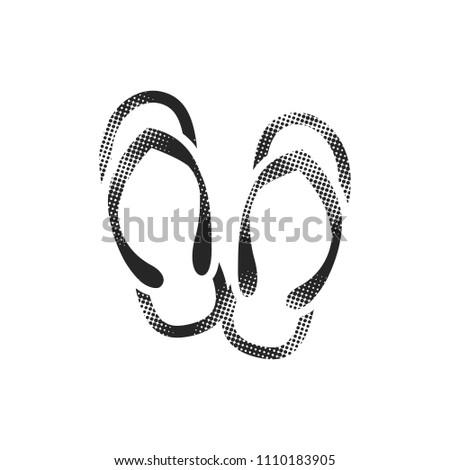 slipper sandal icon in halftone