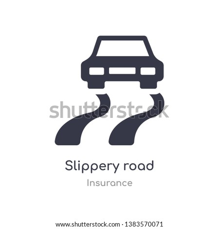 slippery road icon. isolated slippery road icon vector illustration from insurance collection. editable sing symbol can be use for web site and mobile app