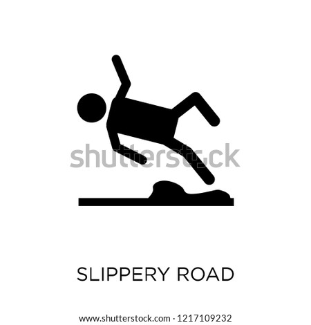 Slippery road icon. Slippery road symbol design from Insurance collection.
