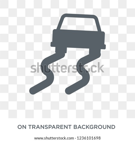 Slippery road icon. Trendy flat vector Slippery road icon on transparent background from Insurance collection.