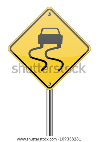 slippery road sign on yellow