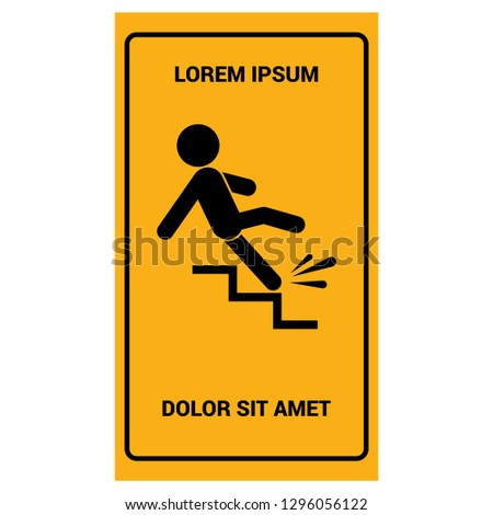 Slippery stairs icon. Slippery stairs warning.