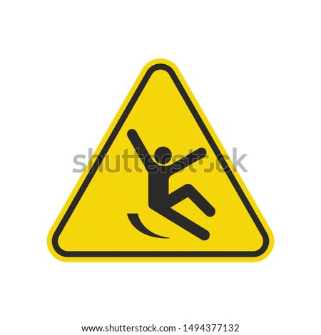 Slippery Surface Sign Isolated On White Background. Yellow Triangle Warning Symbol Simple, Flat, Vector, Icon You Can Use Your Website Design, Mobile App Or Industrial Design. Vector Illustration