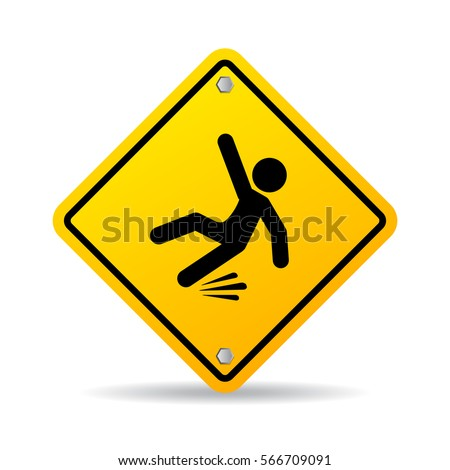 Slippery wet floor warning vector sign on white background. Falling danger vector web sign.