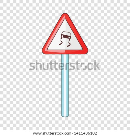 Slippery when wet road sign icon. Cartoon illustration of slippery when wet road sign vector icon for web