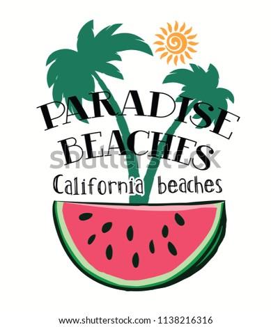 slogan and watermelon drawing character.Vector print