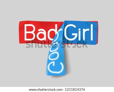 slogan bad (good) girl for t-shirt, sweatshirt, sweatshirt and other