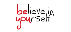 Slogan believe in yourself. You can do it or yes i can. Possitive, motivation and inspiration for greeting cards or banner. Flat vector inspirational quote sign. Good vibes.