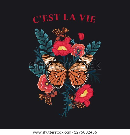 Slogan Butterfly with blooming flower vector.  wording in french