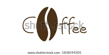 Slogan coffee with the letter o as a coffee bean. Flat vector sign. Motivation, inspiration message moment. Word for possitive emotions quotes. Relaxing and chill. Foto stock ©
