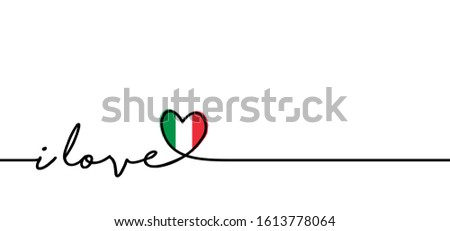 Slogan i love you Italy with Italia flag. Love heart month or happy singles day. Travel hollyday, vacantion banner. Fun vector pizza party icon sign. italiy logo symbol Foto stock ©
