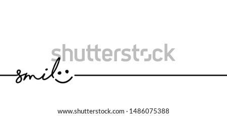 Slogan just smile, World Smiling Day Drawing emotion symbol. Vector success quotes for banner or wallpaper. Relaxing and chill, motivation and inspiration  message concept. Kids lazy emoji ideas.