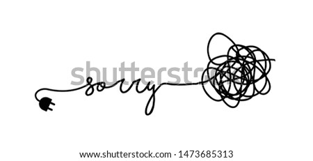 Slogan oops I'm so sorry. Funny vector electric quotes for motivation, networking internet concept. Page not found, 404 error. Offline or online and unplugged sign. Under construction, broken cable. Photo stock ©