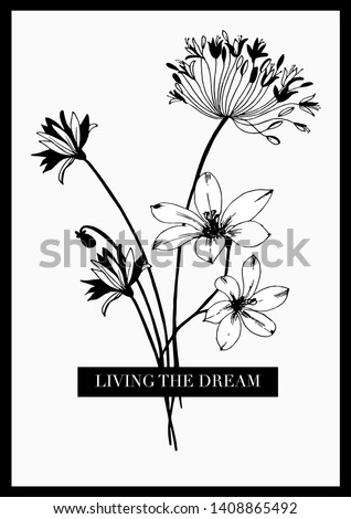 Slogan text with flower illustration. For t shirt print and graphic design element.