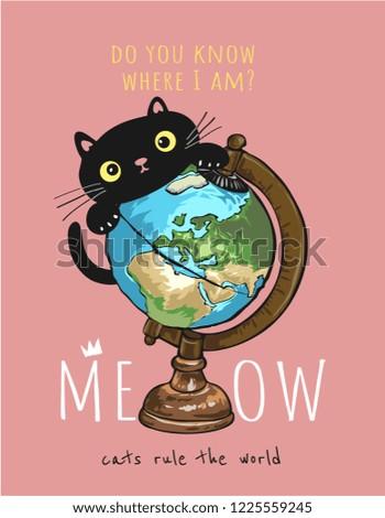 slogan with black cat on