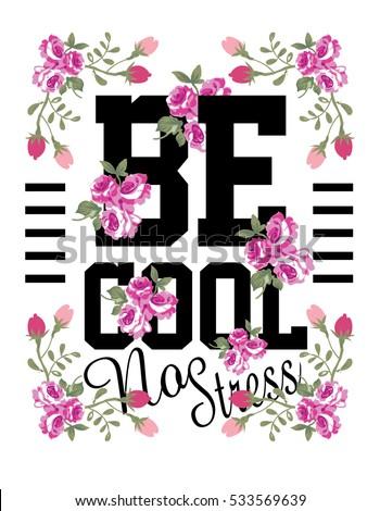 slogan with flower vector art