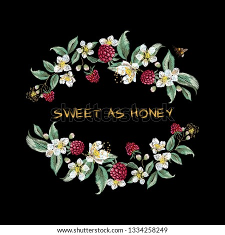 Slogan with raspberries and bee. Vector patch for fashion apparels, t shirt, stickers, embroidery and printed tee design.