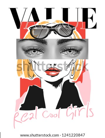 slogan with woman eyes and face illustration