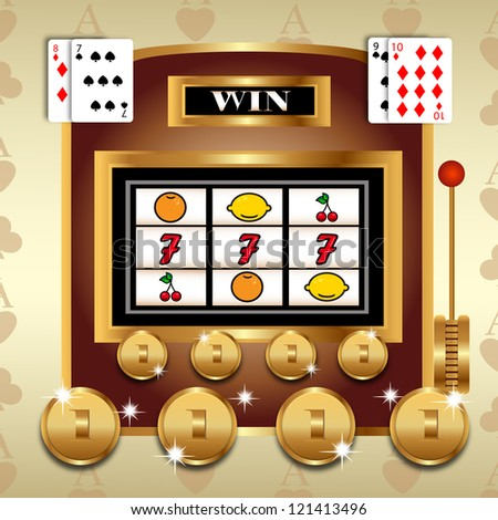 Slot fruit machine with 777 winning and  Gold coins - Vector illustration on retro background