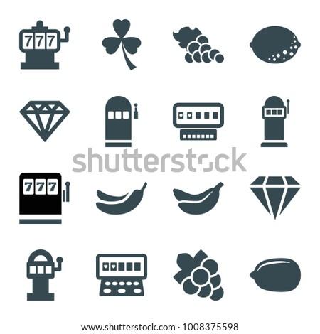 Slot icons. set of 16 editable filled slot icons such as banana, lemon, grape, diamond