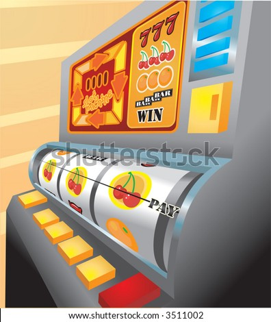 Slot Machine.  An illustration of a slot machine about to pay out on cherries! No meshes used
